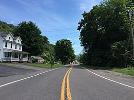 2016-06-18 14 51 45 View south along Maryland State Route 937 (Creek Side Drive) just south of Maryland State Route 36 (New Georges Creek Road) in Franklin, Allegany County, Maryland.jpg