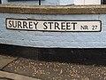 2018-04-29 Street name sign, Surrey Street, Cromer.JPG
