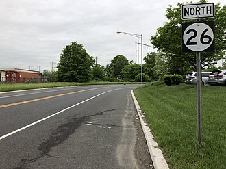 New Jersey Route 26 - Route 26 northbound past its beginning at US 1 in North Brunswick Township