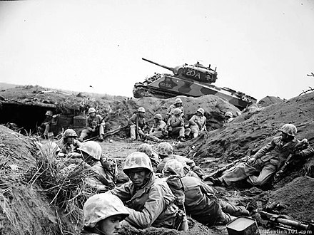 Marines from the 24th Marine Regiment during the Battle of Iwo Jima 24th marines wwii iwo jima.jpg