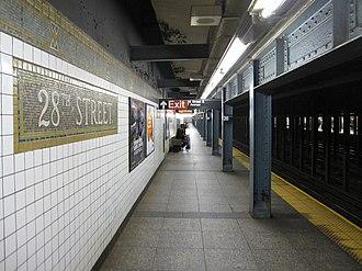 28th Street (IRT Broadway–Seventh Avenue Line) - Downtown platform