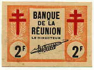 Battle of Réunion - Banknote issued by Free French Réunion in 1943