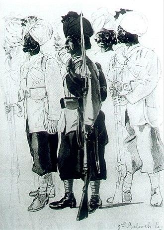 130th Baluchis - Image: 30th Regiment (Bombay) Native Infantry (3rd Belooch Battalion)