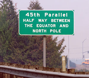 45th parallel north - Marker on Interstate 5 near Keizer, Oregon.