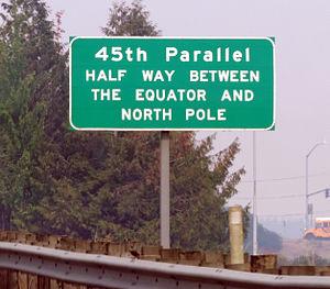 45th parallel north - Marker on Interstate 5 near Keizer, Oregon.