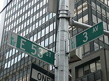 A picture looking up at an intersection street pole where East 53rd Street and Third Avenue.