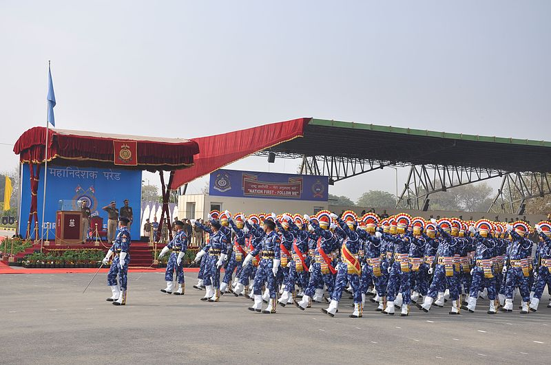 File:6 3 The RAF contingent saluting Sh Prakash Mishra DG CRPF during his farewell parade.jpg