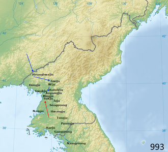 First conflict in the Goryeo-Khitan War, 993 993 Khitan Goryeo invasion.png