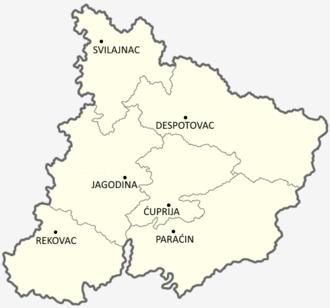 Pomoravlje District - Map of the Pomoravlje District