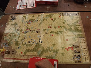Wargaming - A Victory Denied near the end of play. The game is for two players and represents a battle between Nazi Germany and the Soviet Union during World War II.