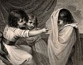 A boy appearing to two girls as a ghost. Stipple engraving. Wellcome V0036040.jpg