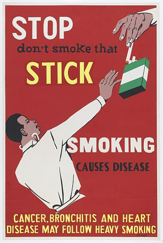 Smoking in Nigeria - An anti smoking print from Nigeria; produced in the 1950s.