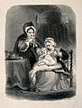 A female servant holds a small child whilst its fashionably Wellcome V0015091.jpg