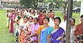 A long queue of voters in front of a polling station of Nowgong Parliamentary Constituency of Assam during General Elections 2004 on April 26, 2004.jpg
