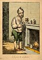 A man standing by a fireplace, pulling a peculiar face after Wellcome V0011209.jpg