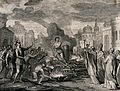 A man tied to a burning stake is pulling at his chains while Wellcome V0041779.jpg
