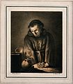 A monk contemplates a skull at candlelight. Lithograph by Ne Wellcome V0042085.jpg
