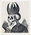 A skeleton wearing a bishop's mitre reading a book (vignette for the feast of the dead) MET DP867971.jpg