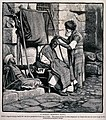 A street barber dressing a man's hair. Wood engraving by W.P Wellcome V0019804.jpg