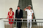 Adm. Charles R. Larson salutes as President William Jefferson Clinton and Hillary Rodham Clinton observe a moment of silence at the Arizona Memorial.jpg