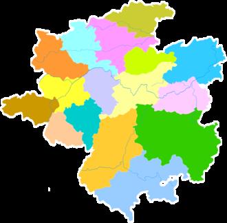 Qiandongnan Miao and Dong Autonomous Prefecture - Image: Administrative Division Qiandongnan