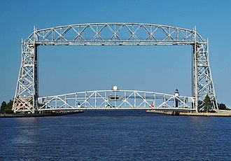 National Register of Historic Places listings in St. Louis County, Minnesota - Image: Aerial Lift Bridge centered