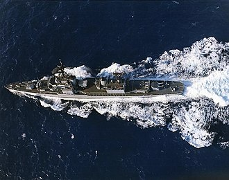USS Rowan (DD-782) - Rowan underway in the Western Pacific, in 1965, clearly showing her FRAM I modifications.