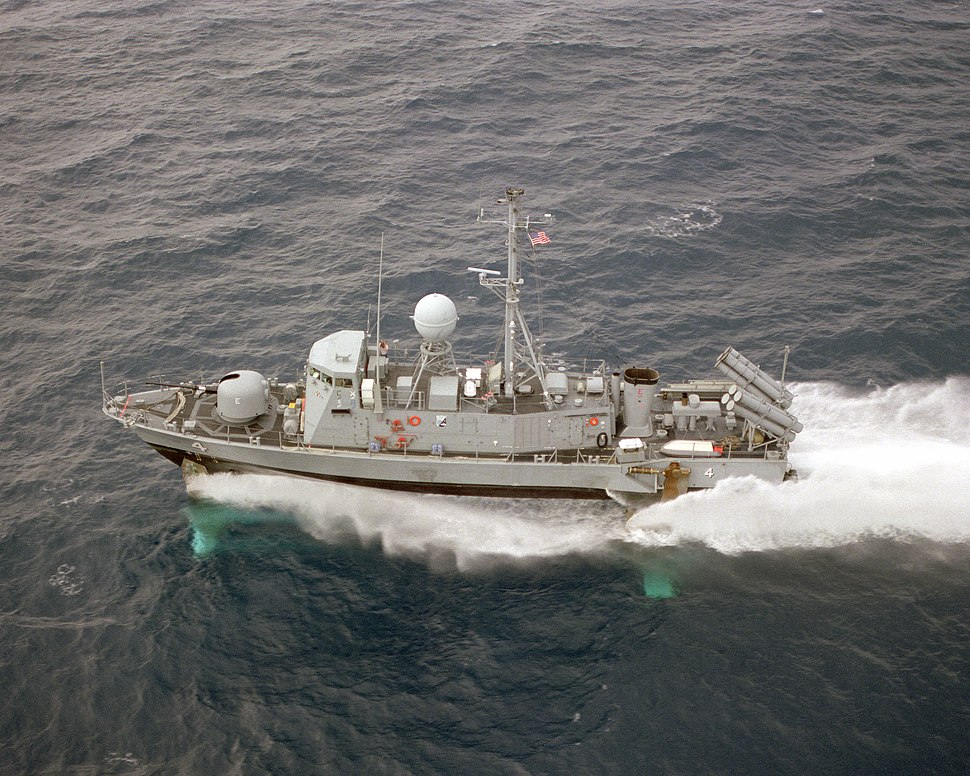 Aerial port beam view of USS Aquila (PHM-4) underway US Navy DN-SC-87-07089
