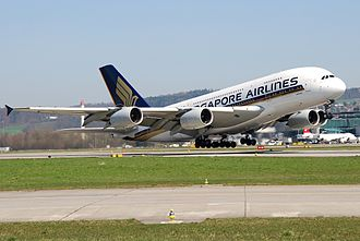 International flight - Airbus A380, larger aircraft are often used in international flights.