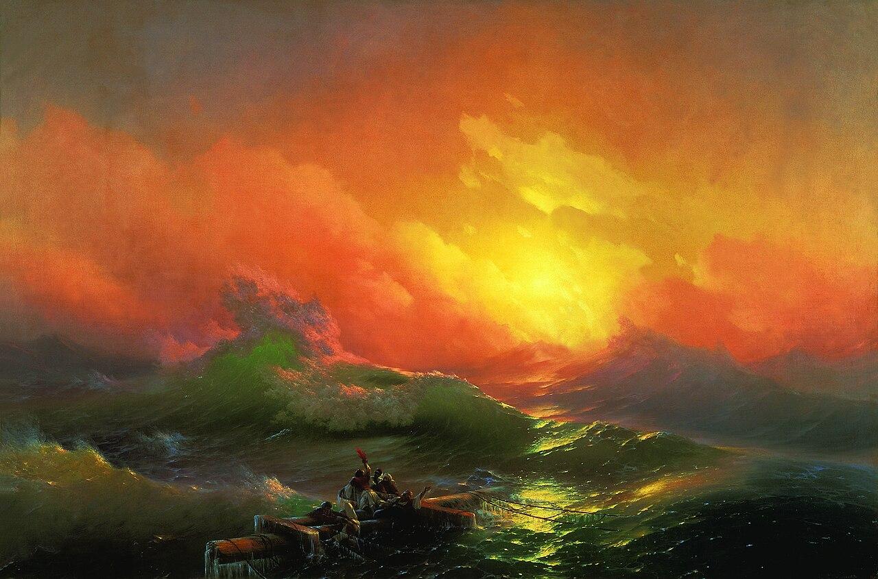 La Neuvième Vague (1850) est l'une des plus célèbres marines du peintre russo-arménien Ivan Aïvazovski. Musée Russe (Saint-Pétersbourg) – Huile sur toile (221 × 332 cm)  (définition réelle 5815×3840)