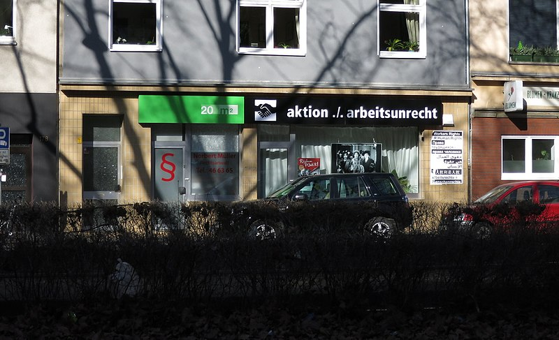 Datei:Aktion gegen Arbeitsunrecht, Köln-Sülz, Luxemburger Straße 176.jpg