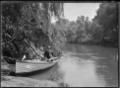 Albert Percy Godber boating on the Waihou River at Te Aroha, in 1917. ATLIB 284114.png