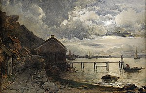 Alfred Wahlberg - Månsken, Fjällbacka (English: Moonlight, Fjällbacka), an 1880 painting by Wahlberg