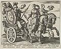 Allegorische voorstelling met een strijdwagen getrokken door twee paarden. Op de wagen zit een Marsfiguur. Op de paarden de personificaties van de Voorzichtigheid en de Trouw. NL-HlmNHA 1477 53011495.JPG