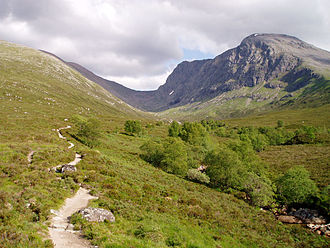 Scottish Highlands - Ben Nevis from the path to the CIC Hut alongside the Allt a' Mhuilinn