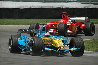 2006 United States Grand Prix - Fernando Alonso in front of race winner Michael Schumacher during the race