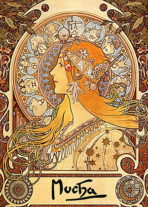Czech art - Zodiac an example of Mucha's floral Art Nouvea style