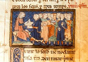 Alphonse, Count of Poitiers - Alphonse, as Count of Toulouse, recognised the autonomy of the commune of the town of Agen. In this illustration he takes an oath before the consuls with his right hand on the town ordinances, while sitting on a pedestal. The consul administering the oath is forced to go on his knees, symbolising Alphonse's lordship and the town's loyalty.