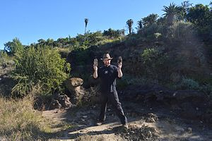 Amanzi Springs archaeological site - 1. Prof Andy Herries standing in the Hilary Deacon Area 1 excavations at Amanzi Springs in 2015.