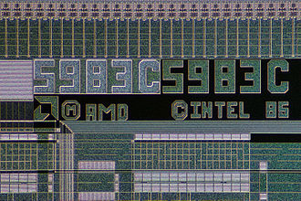 Am386 - Wafer of an Am386 processor withIntel logo.