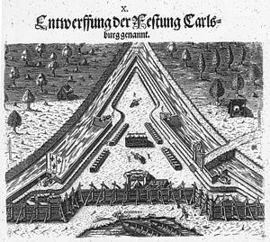 Dominique de Gourgue - Fort Caroline engraving 1591