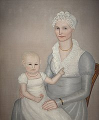 "Mrs. Wilbur (Sarah ""Sally"" Stearns) Sherman (1789-1845) and daughter Sarah (1814-1872)"