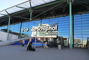 Schiphol Airport railway station - Entrance to the railway station and airport