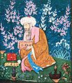 An Indian poet seated in a cherry blossom garden.jpg