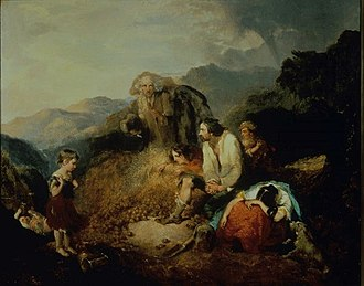 Great Famine (Ireland) - An Irish Peasant Family Discovering the Blight of their Store by Cork artist Daniel MacDonald, c. 1847. For economic reasons, the Irish peasantry had become dependent on potato crop.