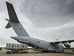 An RAF C17 aircraft is loaded with aid from the British people, headed for people affected by the earthquake in Nepal (17084832517).jpg