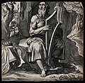 An aging David strums his harp, reciting psalms. Engraving b Wellcome V0034341.jpg