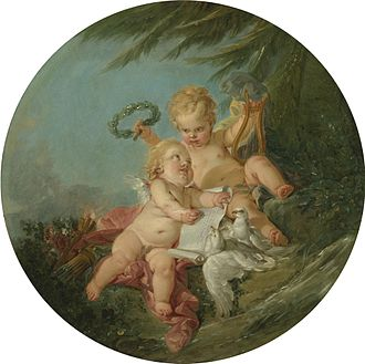Angel - An allegory of poetry by François Boucher