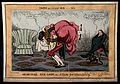 An obese woman hoisted upon her servant's back as her doctor Wellcome V0010982.jpg