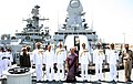 Anandiben Patel onboard INS Kolkata, during the commissioning ceremony of INS Sardar Patel, in Gujarat on May 09, 2015. The Chief of Naval Staff, Admiral R.K. Dhowan and other dignitaries are also seen.jpg